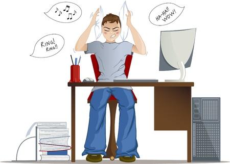 ruido: Niño no puede trabajar debido a un ruido fuerte en la oficina