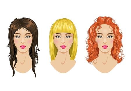 glam: Peinados de conjunto: rubias, morenas, mujer de pelo rojo Vectores