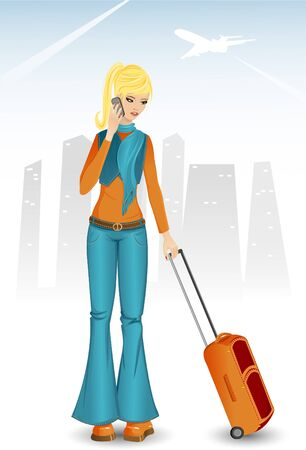 Girl with bag  Vector