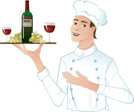 chef uniform: Young head-cook with a tray with red wine, grape and glasses