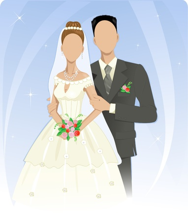 Template of wedding couple Vector