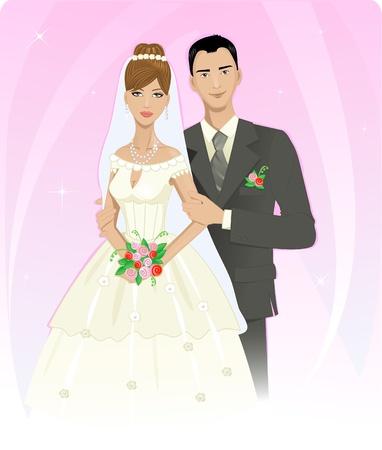Bruidspaar Vector Illustratie
