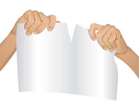 negar: Las manos del hombre romper una versi�n en papel Vectores