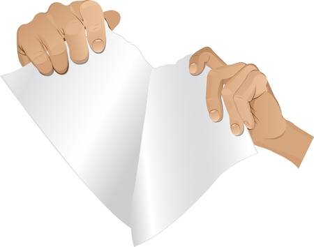 Man hands tear paper  version 2 Stock Vector - 13067137