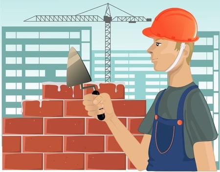 Builder with trowel Stock Vector - 13067130