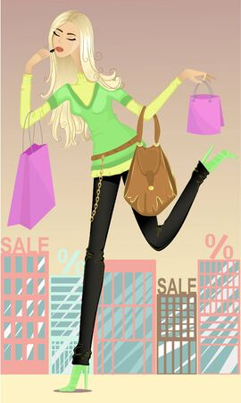 Girl running shopping Vector