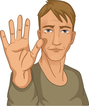 belay: Man making stop gesture