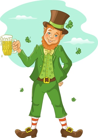 patrick's: Friendly leprechaun with beer for St  Patrick s Day