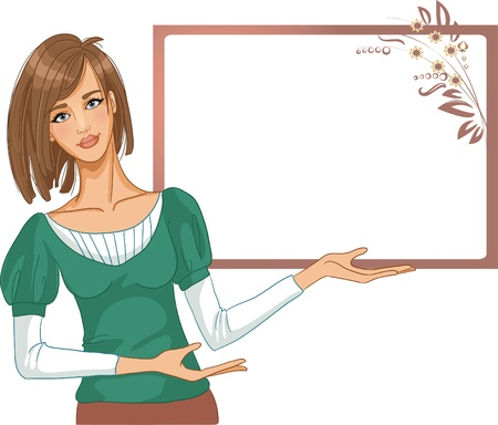 Young woman posing for presentation on a blank background Stock Vector - 13104158