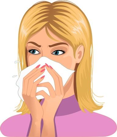 Woman sneezing in handkerchief  Illustration