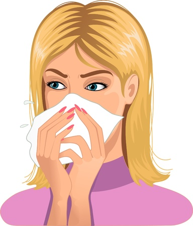 infected: Woman sneezing in handkerchief  Illustration