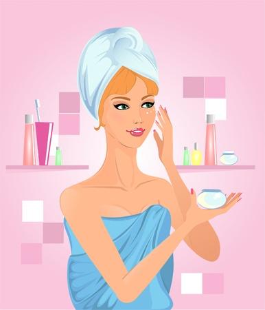 Fille d'appliquer la crème dans le bain Vecteurs