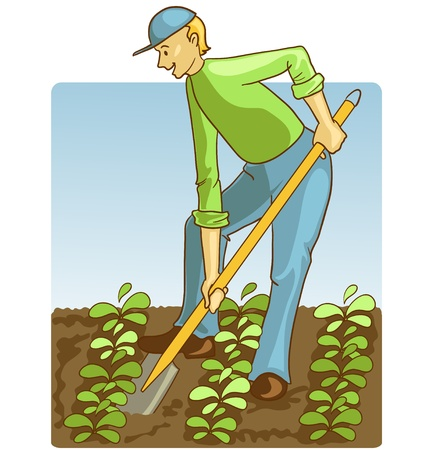 gardening tool: Man digging spring soil with shovel Illustration