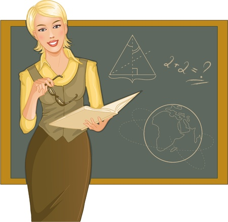 explaining: Teacher at blackboard