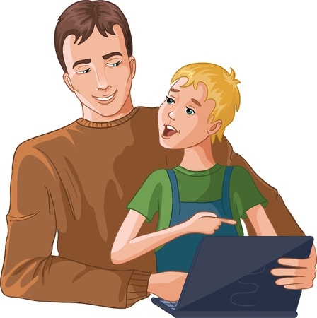 teaching adult: Father and boy working with laptop Illustration
