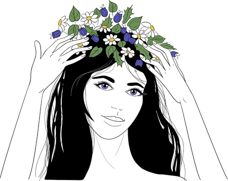 long black hair: Young woman with flower wreath Illustration
