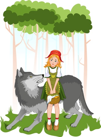 cartoon little red riding hood: Little red riding hood with wolf  Illustration