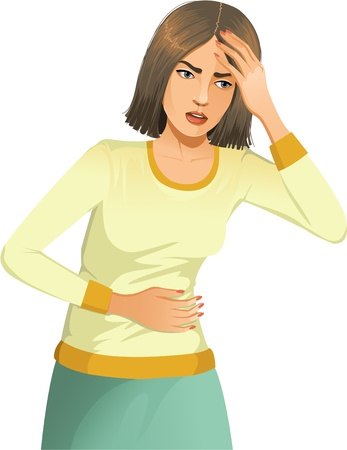 Woman with stomach issues and headache