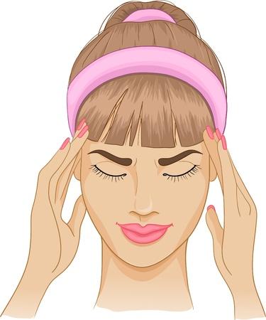 Vrouw met hoofdpijn Stock Illustratie