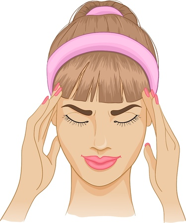 Woman with headache  Illustration