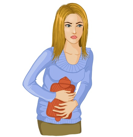 Woman with stomach issues.Vector image of a young woman with hot-water bottle on a belly