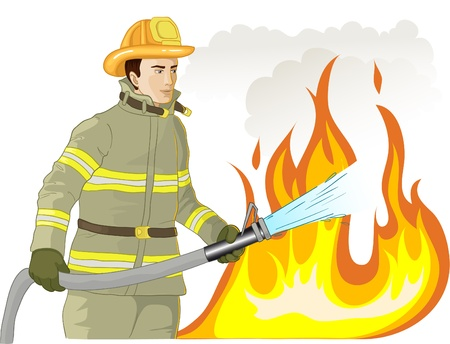 fireproof: Firefighter with a fire hose against a fire Illustration