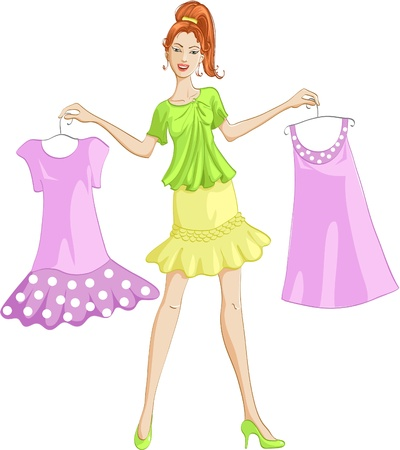 choosing clothes: Girl choosing or showing a dress to wear