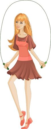 jump rope: A girl jumping a rope