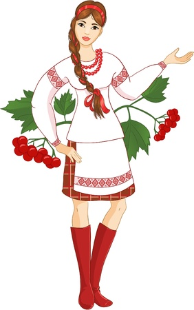 Young woman in ukrainian clothes Stock Vector - 13268286