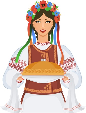 ucraniano: Young woman in ukrainian clothes, with garland and round loaf