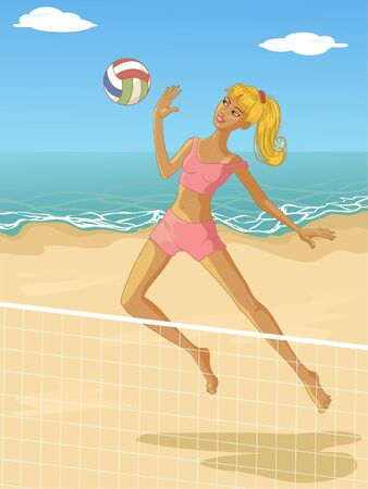 Young woman playing beach volleyball  Vector