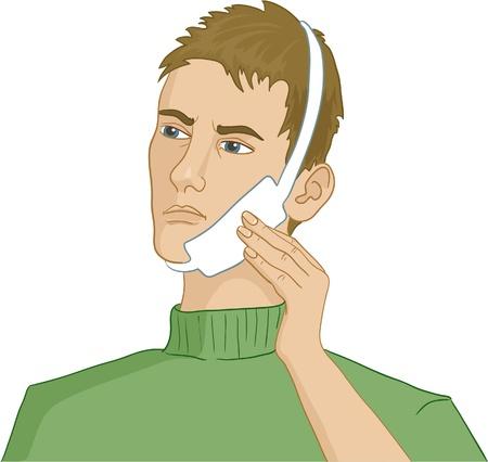 swollen: Man having teeth pain