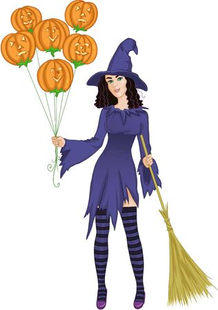 Halloween witch standing with pumpkins and a broomstick