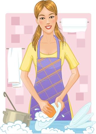 lavar trastes: Joven mujer lavar los platos