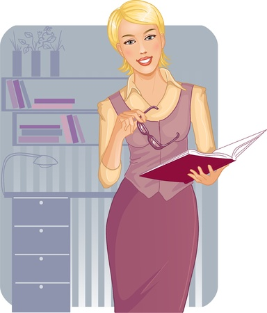 shelf with books: Business woman with journal near desk Illustration