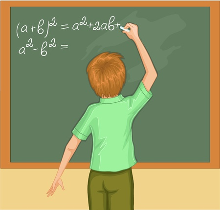 Boy writes on blackboard. Vector image of a boy in classroom. The boy solves mathematical exercises on blackboard. Stock Illustratie