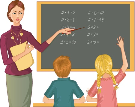 asking: Teacher at blackboard explains children mathematics