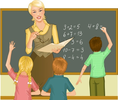 Teacher at blackboard explains children mathematics.Vector image of a young teacher in the classroom who gives a lesson of mathematics  Illustration