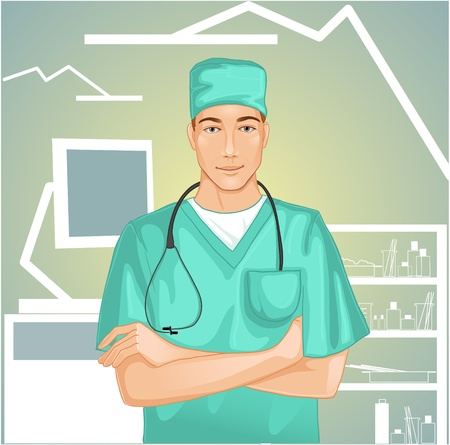 pediatrician: Doctor with stethoscope Illustration