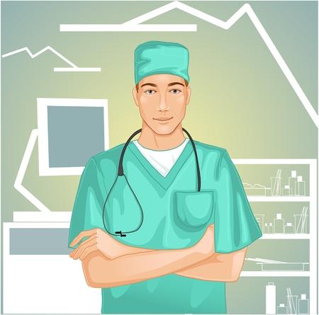 Médico con el estetoscopio Ilustración de vector
