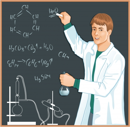 explaining: Chemist at blackboard. Vector image of a man with retort in hands, who writes chemical reactions on the background