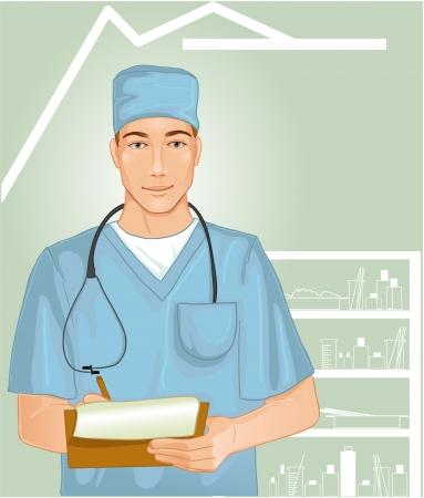 equipos trabajo: imagen de un joven m�dico con estetoscopio en la habitaci�n del hospital que escribe las notas