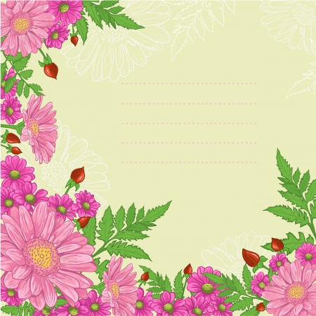 Background with mix of flowers decorative background with a composition of pink flowers Vector