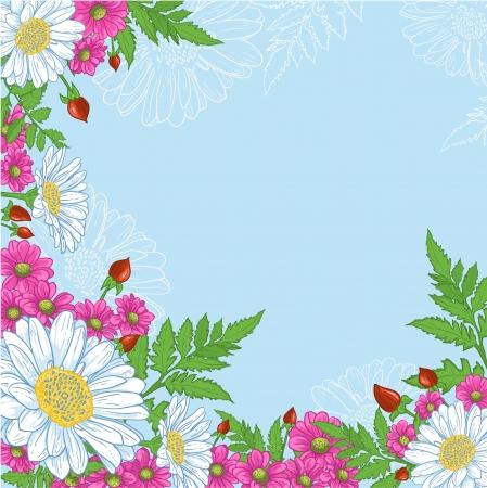 Sfondo con mix di fiori sfondo decorativo con una composizione di fiori bianchi e rosa su sfondo blu Archivio Fotografico - 13897028
