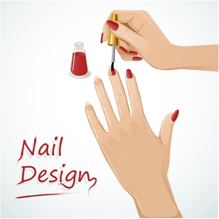Woman hands putting a varnish on nails Stock Vector - 13897036