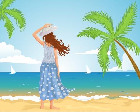 Meisje op het strand. beeld van een jong meisje op het strand. Een andere versie. Stock Illustratie