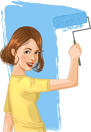 diy tool: Woman paints the wall. Image of a smiling girl painting the wall with roller-brush.