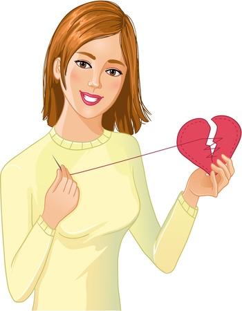 repairs: Young beautiful girl repairs fabric heart
