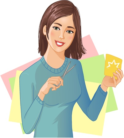 Young beautiful girl is cutting color paper with scissors Stock Vector - 14712467