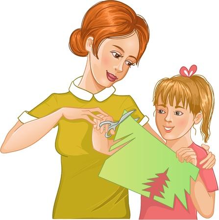 mum and daughter: Madre figlia aiuta a tagliare la carta a colori e rendere il lavoro applique Vettoriali